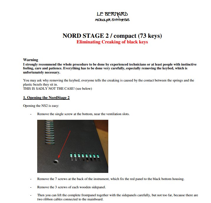 Eliminate Key noise on Nord Stage Keyboards